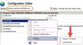 IIS 7.5 – Revert custom error pages to inherited ones